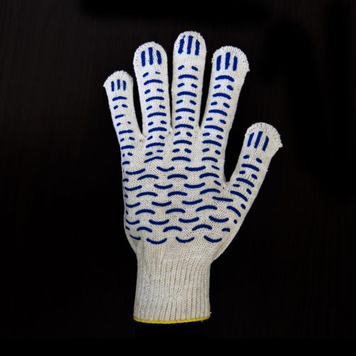 Перчатки рабочие 10 класс 6 нитей с ПВХ Волна