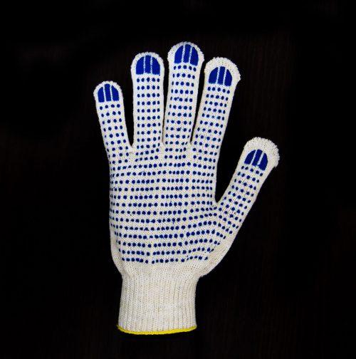 Перчатки рабочие 10 класс 6 нитей с ПВХ Точка