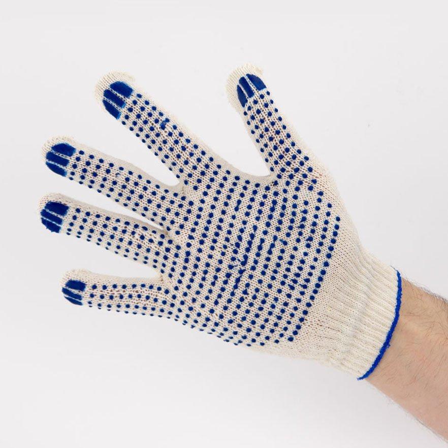 Перчатки рабочие 10 класс 3 нити с ПВХ Точка