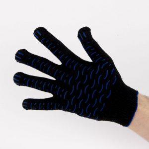 Перчатки рабочие 10 класс 4 нити черные с ПВХ волна
