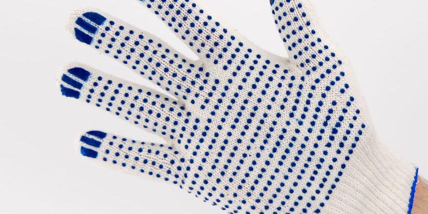 Перчатки рабочие 10 класс 4 нити с ПВХ Точка