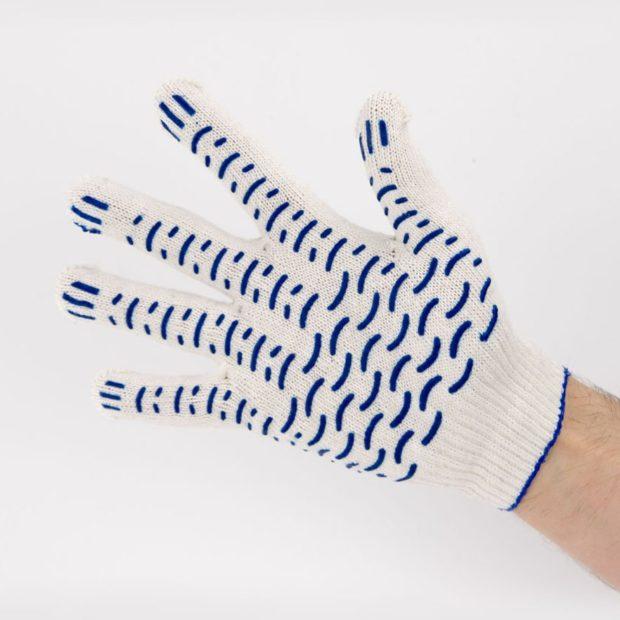 Перчатки рабочие 10 класс 4 нити с ПВХ Волна