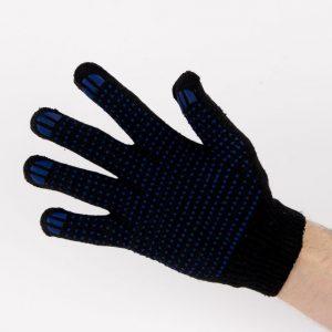 Перчатки рабочие 10 класс 5 нитей черные с ПВХ точка