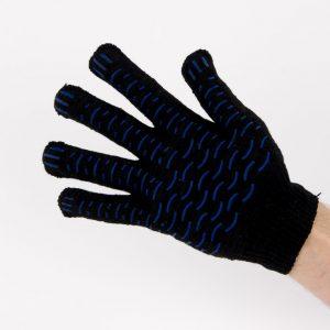 Перчатки рабочие 10 класс 5 нитей черные с ПВХ волна