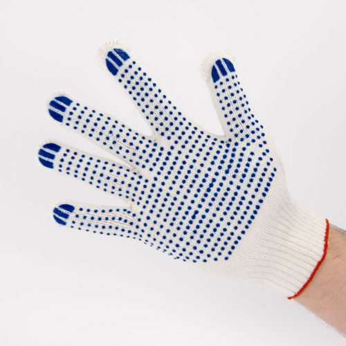 Перчатки рабочие 10 класс 5 нитей с ПВХ Точка
