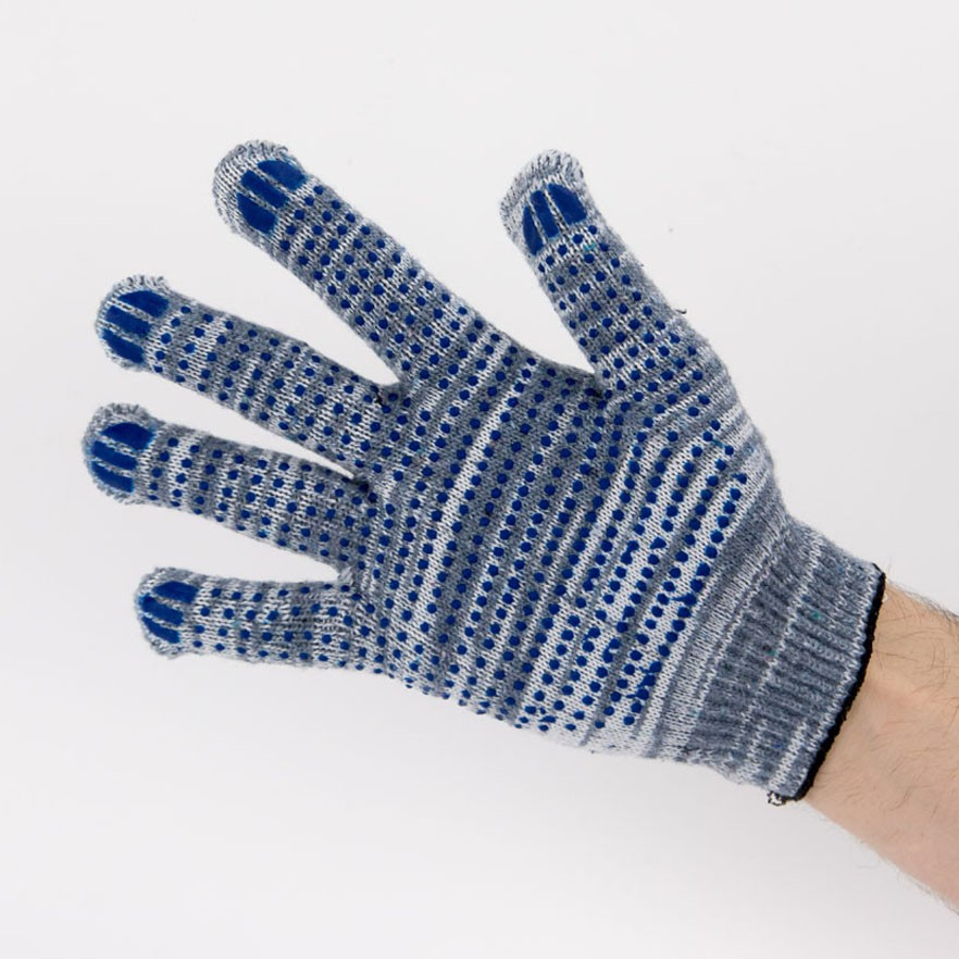 Перчатки рабочие 10 класс 5 нитей серые березка с ПВХ точка