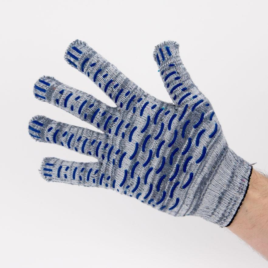 Перчатки рабочие 10 класс 5 нитей серые березка с ПВХ волна