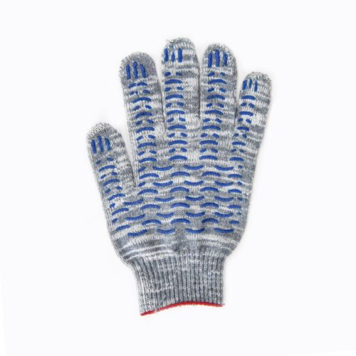Перчатки 6 нитей с ПВХ серые березка волна