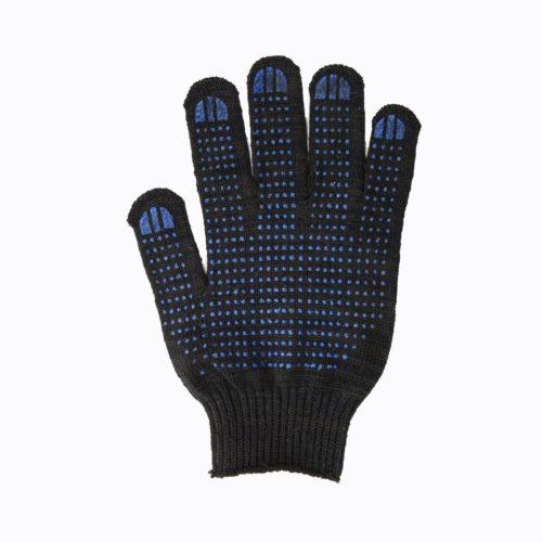 Перчатки с ПВХ 6 нитей черные точка
